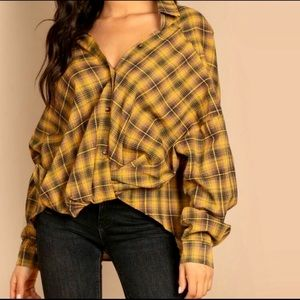 Tied @ the Waist Oversized Plaid Shirt by SHEIN~M